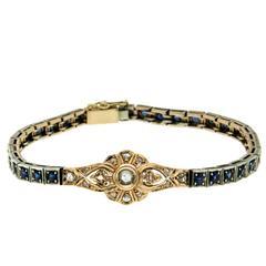 Art Nouveau Sapphire Diamond Gold Bracelet