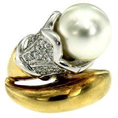 Retro South Sea Pearl Diamond Gold Ring