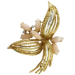 White Diamonds,Navette Shape Pink Coral, 18K White and Yellow Gold Brooch