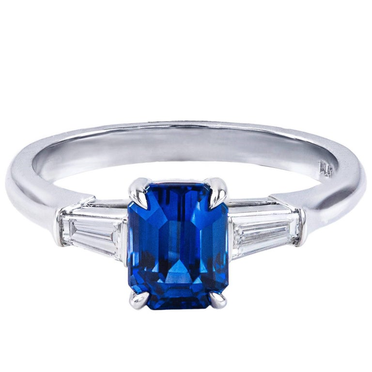 Emerald Cut Sapphire Diamond Platinum Three-Stone Ring For Sale