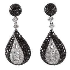 White and Black Diamond Gold Dangle Earrings