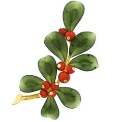 Holly and Berries Jade Coral and Gold Brooch