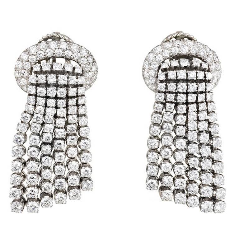 1960s Diamond Platinum Tassel Earrings