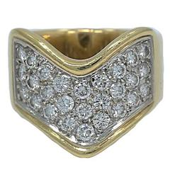 Diamond White and Yellow Gold V Shape Pave Ring