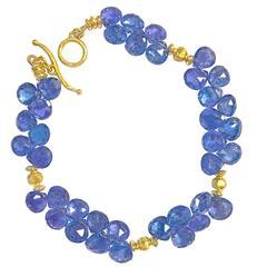 Barbara Heinrich Faceted Tanzanite Briolette Handmade Matte Gold Bracelet