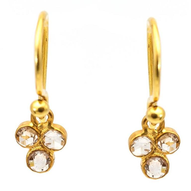 Three Rose Cut Diamonds Yellow Gold Cluster Earrings