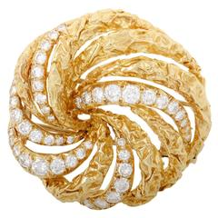 Dior Diamond Yellow Gold Swirl Brooch