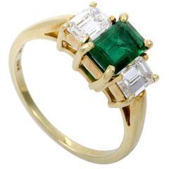 Tiffany & Co. Emerald Diamond Yellow Gold Ring