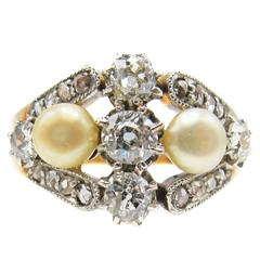 Belle Époque Natural Pearl Diamond Gold Platinum Ring