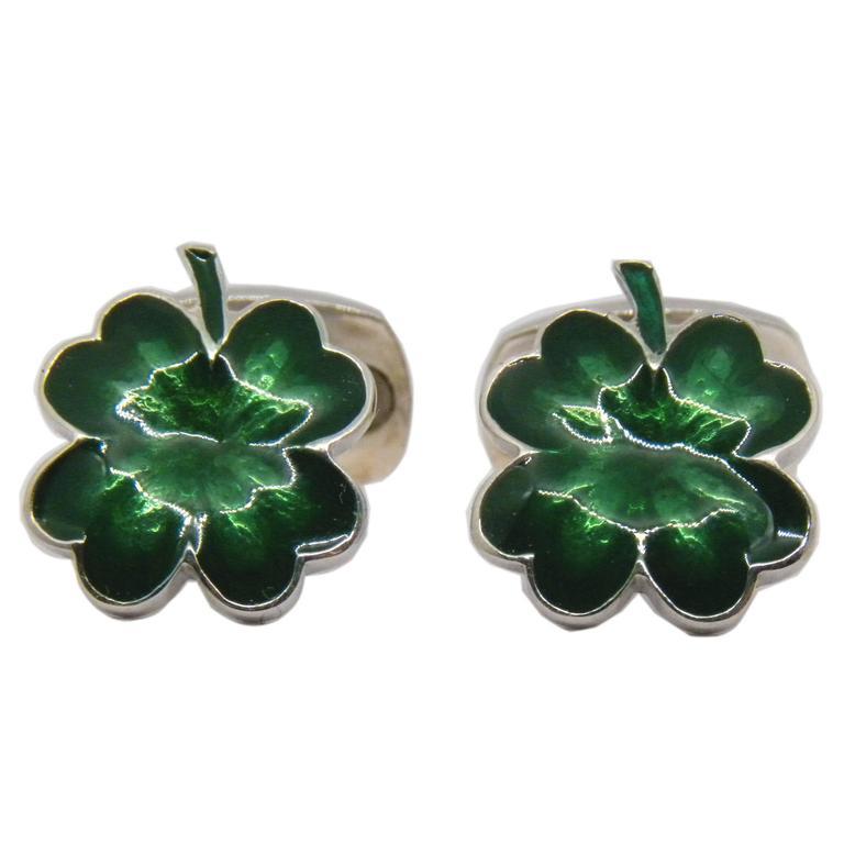 Green Hand Enamelled Cloverleaf Sterling Silver Cufflinks with T-Bar Back For Sale