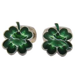 Green Hand Enamelled Cloverleaf Sterling Silver Cufflinks with T-Bar Back