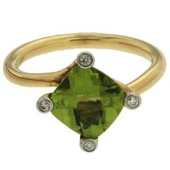 Cushion Peridot Diamond Gold Solitaire Ring