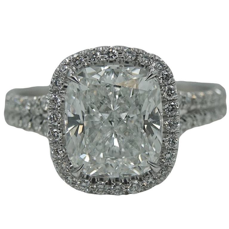 3.08 Carat Cushion Cut Diamond Platinum Engagement Ring