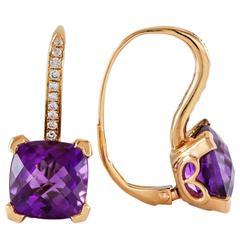 Natural Amethyst Diamond Rose Gold Lever-Back Earrings