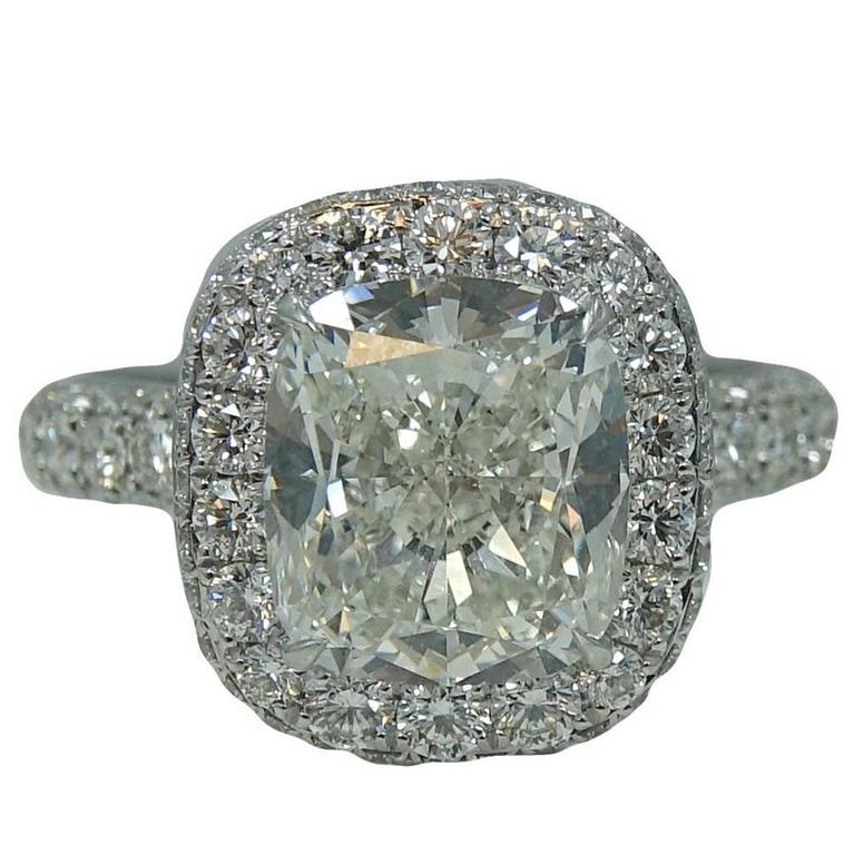 4.35 Carat Cushion Cut Diamond Platinum Engagement Ring