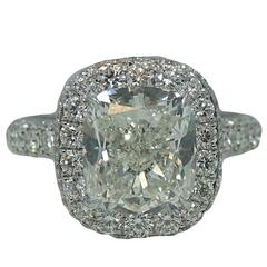 4.35 Carat Cushion Cut Diamond Platinum Engagement Ring