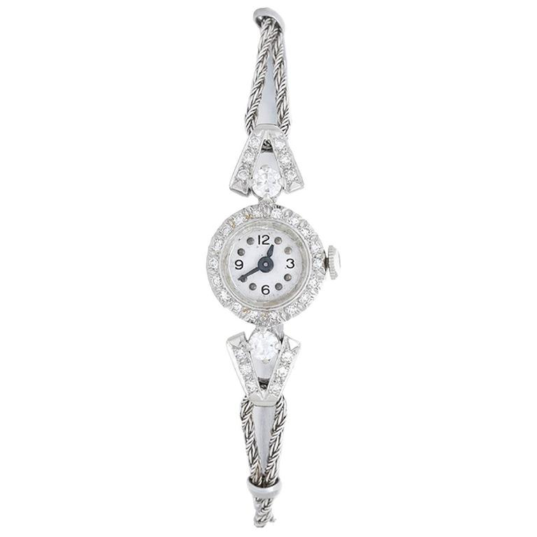 Ladies White Gold Diamond Small Manual Wristwatch