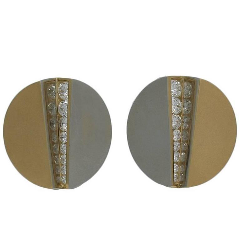 Yellow and White Gold Diamond Disc Earrings
