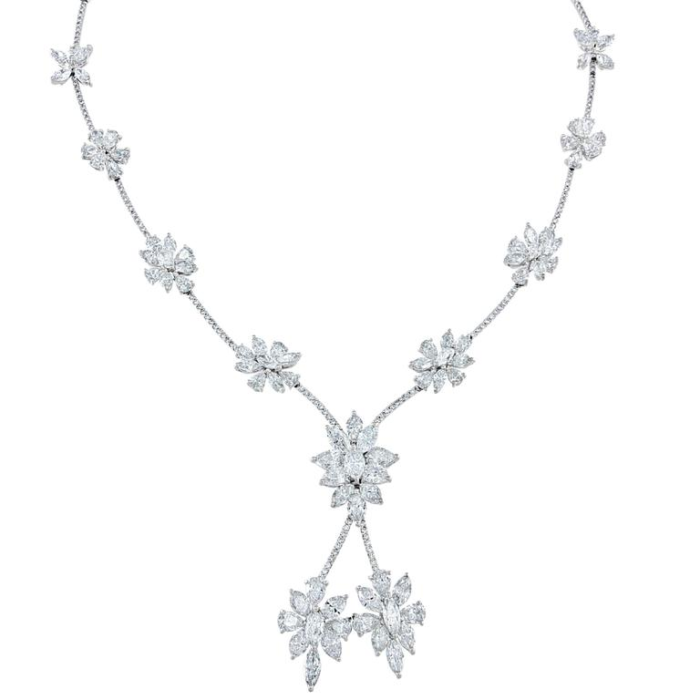 Handcrafted 27.41 Carat Diamond Platinum Necklace