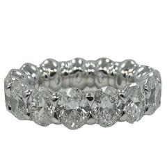7.38 Carat Oval Cut Diamond Platinum Eternity Band Ring