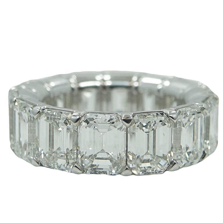 11.18 Carat Radiant Diamond Platinum Eternity Band Ring 1