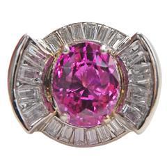 Stunning Retro 7.35 Carat Pink Sapphire Diamond Platinum Ring