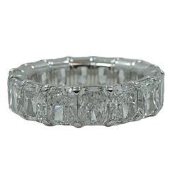14.43 Carat Emerald Cut Diamond Platinum Eternity Band Ring