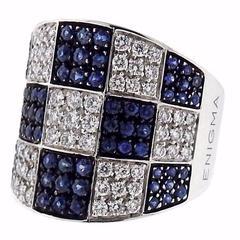 G. Bulgari Enigma Sapphire Diamond Gold Checkered Ring