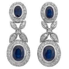 Sapphire Diamond Gold Foliate Drop Earrings