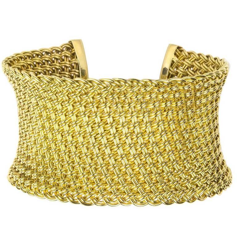 Paul Flato Chic Woven Gold Cuff Bracelet