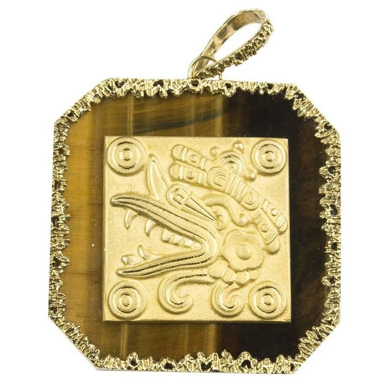 Tiger Eye Pendant with Mayan Motif For Sale