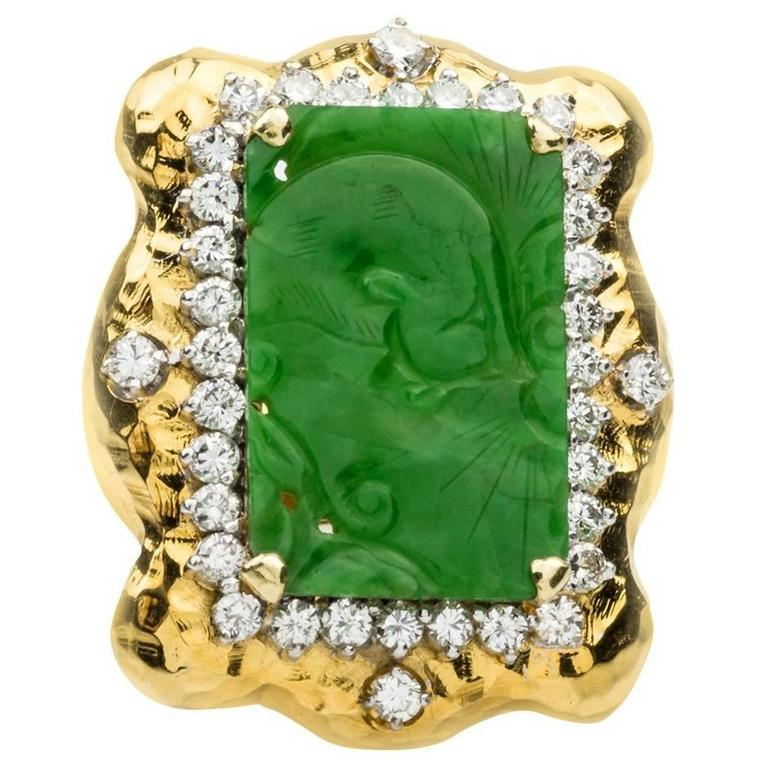 Carved Jade  Diamond Gold Ring 1