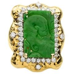 Carved Jade  Diamond Gold Ring