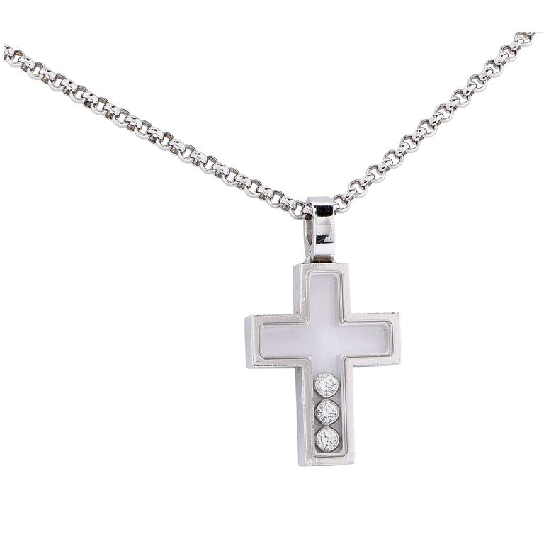 Chopard Happy Diamonds White Gold Cross Necklace For Sale