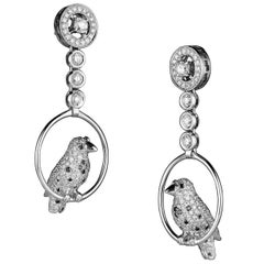 Italian Jewelry Bird White Black Diamond 18 Karat White Gold Drop Earrings