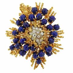 1970s Lapis Diamond Gold Brooch Pin