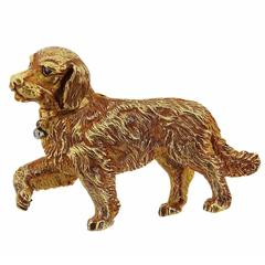 1990s Tiffany & Co. Diamond Gold Dog Brooch Pin