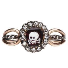 18th Century Memento Mori Garnet Skull Ring