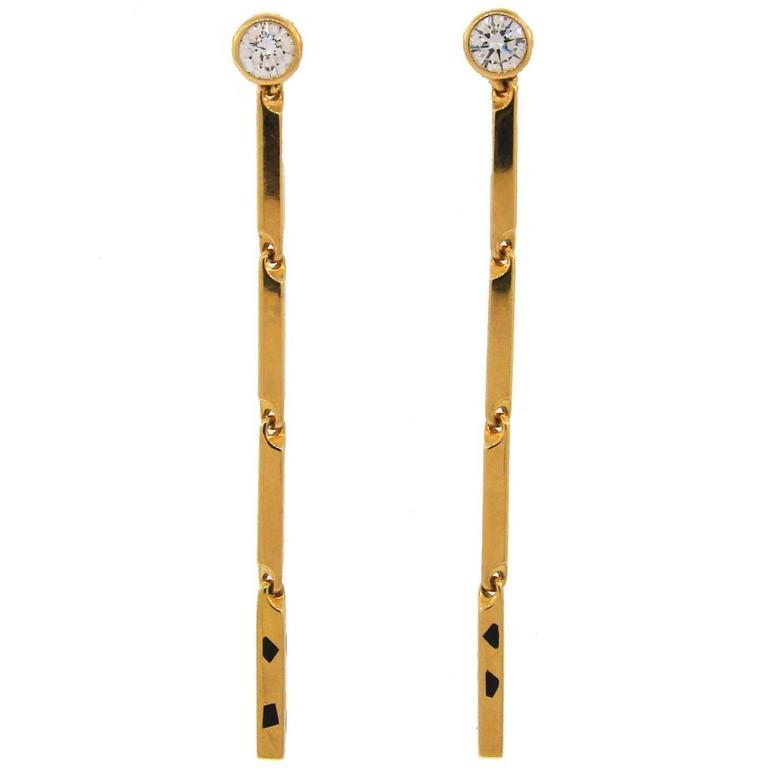Cartier Panthere Diamond Enamel Yellow Gold Earrings For Sale