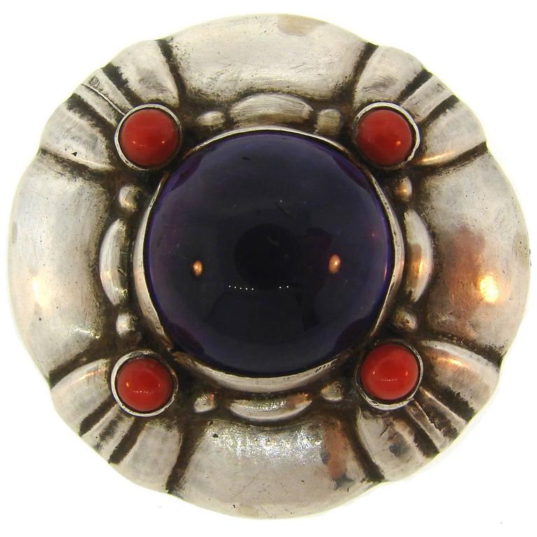Georg Jensen Amethyst Coral Silver Pin Brooch Clip No.50