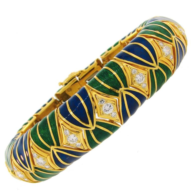 1980s David Webb Diamond Enamel Yellow Gold Bracelet