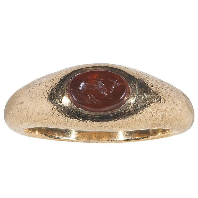 1st Century AD Roman Empire Carnelian Dolphin Intaglio Ring For Sale