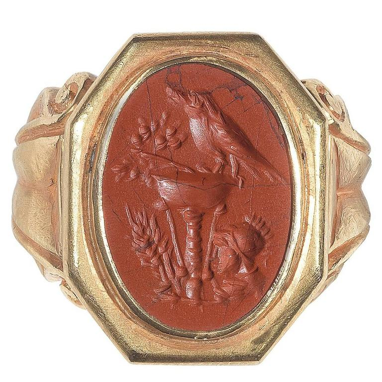 3rd Century AD Roman Empire Jasper Good Luck Intaglio Ring