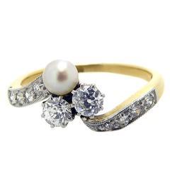 1920s Diamond Pearl Cross over Twist Ring, Diamond Shoulders