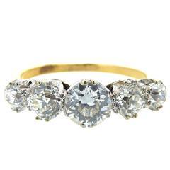 Antique Victorian Five-Stone Diamond Ring, circa 1900