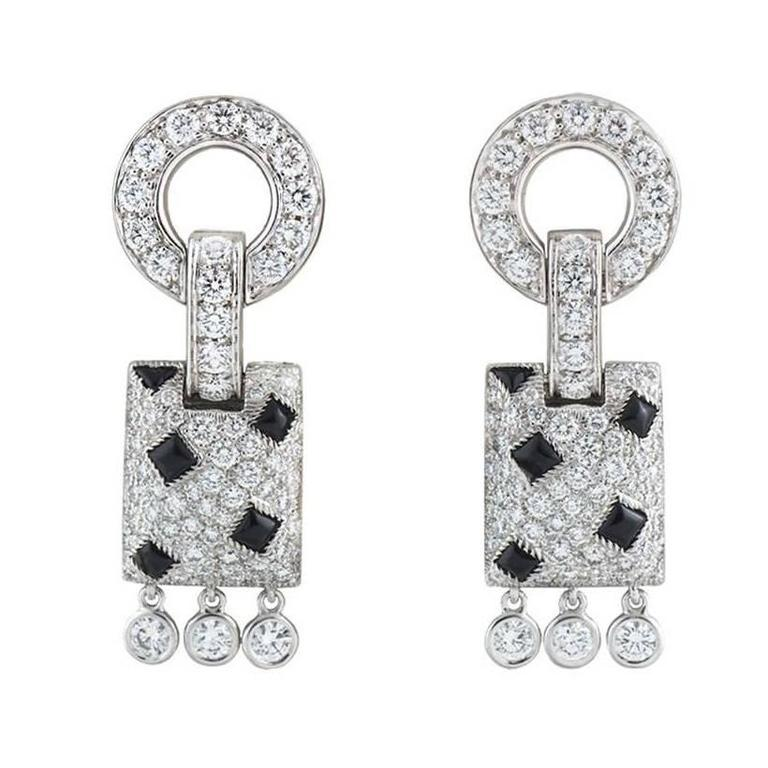 Cartier Panthere De Onyx Diamond White Gold Earrings For