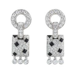 Cartier Panthere de Cartier Onyx Diamond White Gold Earrings