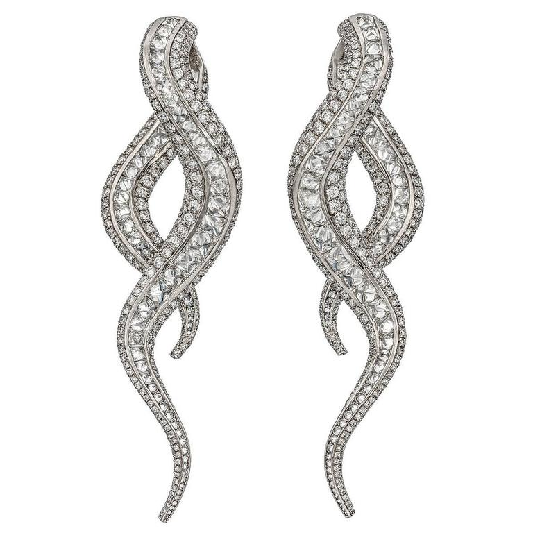 Contemporary Scrolling Diamond White Gold Drop Earrings 1