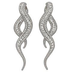 Contemporary Scrolling Diamond Drop Earrings