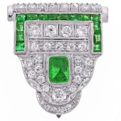 Art Deco Emerald Diamond Single Dress Clip